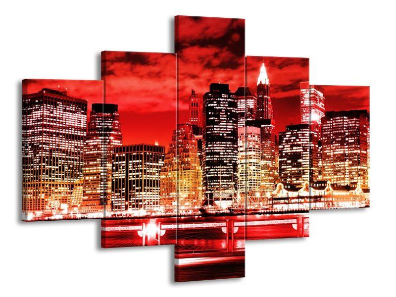 Vícedílný obraz Červený New York 100x70 cm