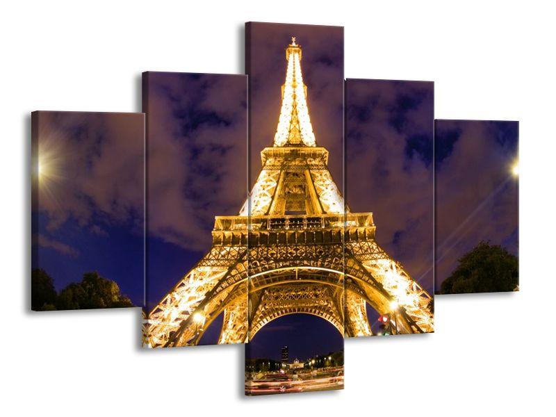 Vícedílný obraz Zlatá Eiffelova věž 100x70 cm