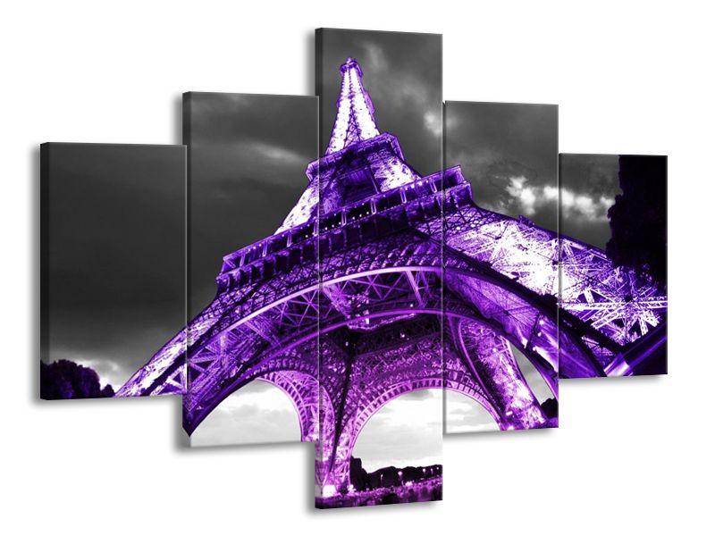 Vícedílný obraz Eiffelova věž fialová 100x70 cm
