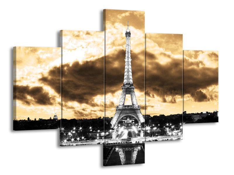 Vícedílný obraz Eiffelova věž šedá 100x70 cm