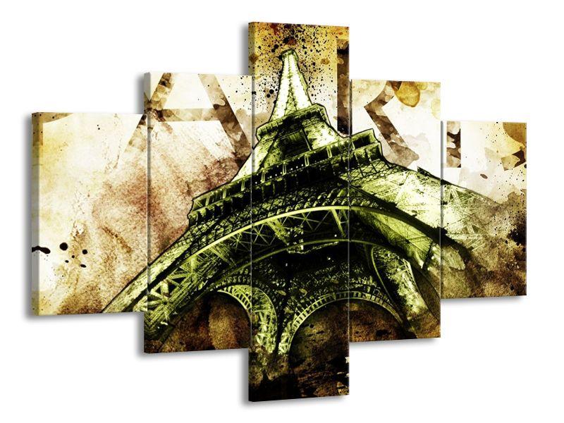 Vícedílný obraz Eiffelova věž khaki 100x70 cm