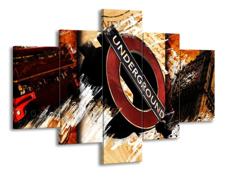 Vícedílný obraz Londýn - Big Ben, Metro, červený bus 100x70 cm