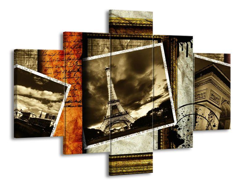 Vícedílný obraz Eiffelova věž pohlednice 100x70 cm