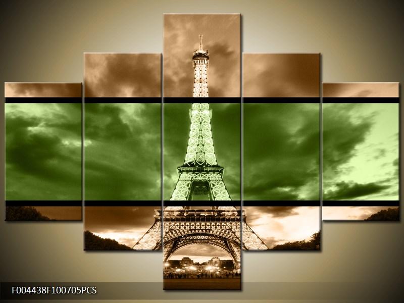Vícedílný obraz Eiffelova věž dvoubarevně 100x70 cm