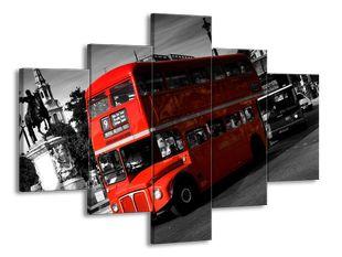 Červený dvoupatrový autobus