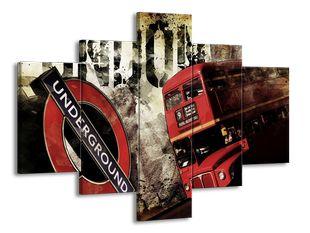 Červený autobus a metro Londýna