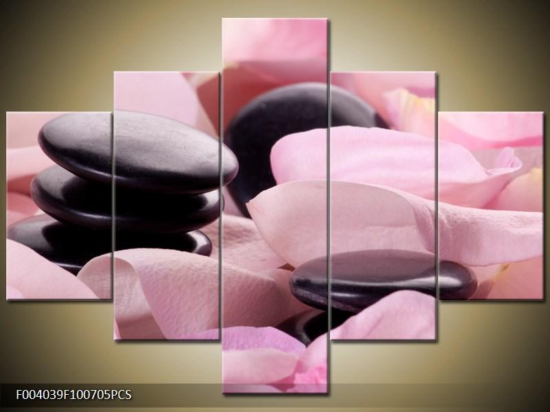 Kamínky na růžové látce