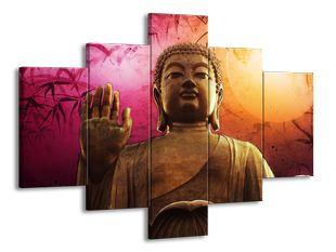 Buddha na barevném podkladu