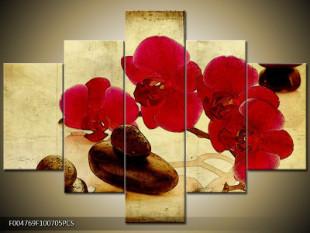 Červená kvítka s kamínky