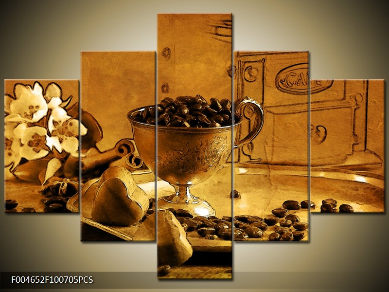 Kávová zrna a srdce