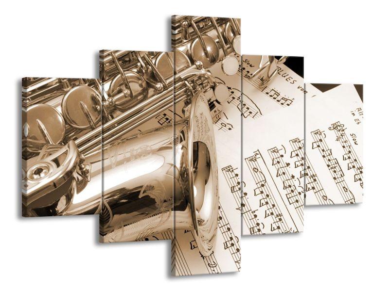Vícedílný obraz Saxofon a noty 100x70 cm