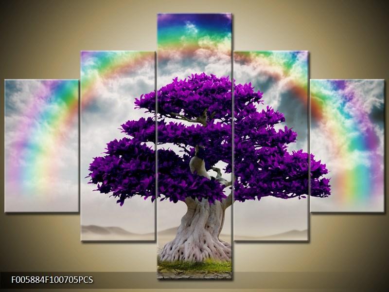 Fialový strom s duhou