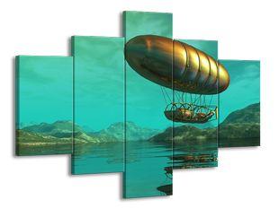 Vzducholoď nad jezerem