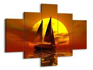 Plachetnice a západ slunce