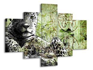 Levhart namalovaný zelená