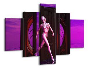 Vcházející žena fialová