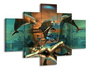 Delfíni a žena