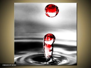 Červené kapky vody