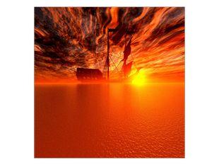 Loď v západu slunce