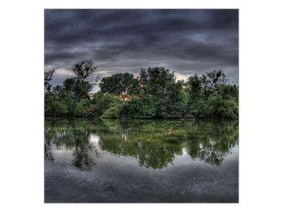 Stromy odraz v jezeře