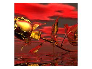 Zlatá růže nad hladinou