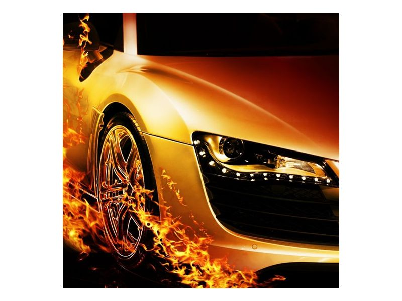 Auto v ohni