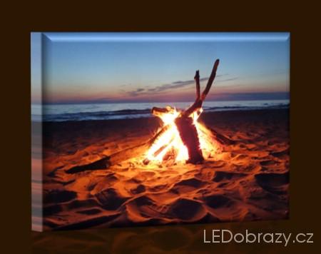 LED obraz Oheň na pláži 45x30 cm