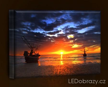 LED obraz Západ slunce 45x30 cm