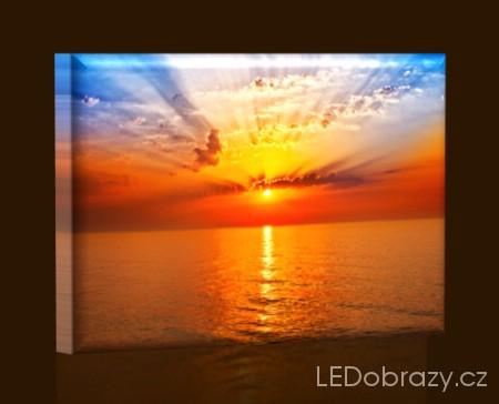 LED obraz Západ slunce na moři 45x30 cm