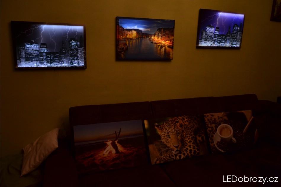 LED obrazy svítící ve tmě